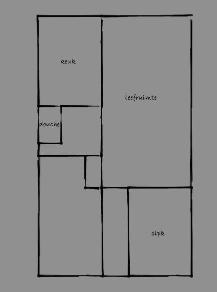 Leefruimte, slaapkamer, toilet, keuken, inkom, inloopdouche, garage